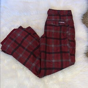 Burton Dry ride red plaid Snowboarding pants xl